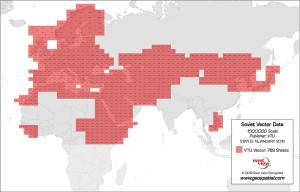 50万分の1旧ソヴィエト軍製 地形図ベクターデータ インデックスマップ